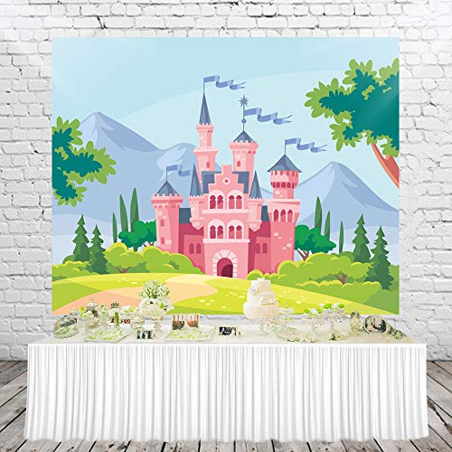 (HUAYI Fairy Tale Castle Photography Backdrop Princess Girl Birthday Banner Photo Studio Booth Background for Party 5X3ft xt-7468)