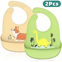 Baberos Silicona para Bebé, Peakally Babero Impermeable Suave 2 Piezas Ajustables Baberos Baby Bibs para Bebé,Niños,Niñas-Verde/Amarillo