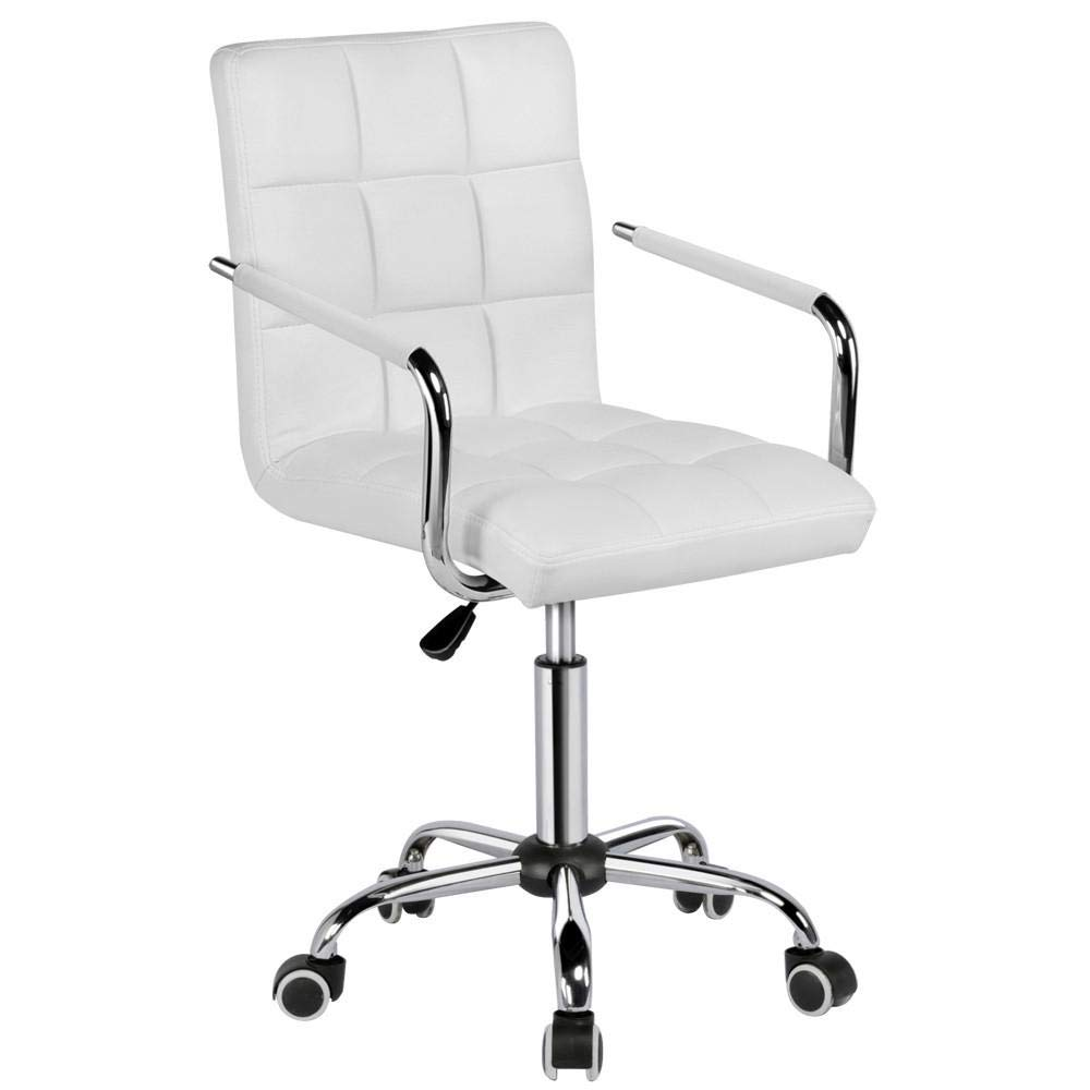 Yaheetech White Desk Chairs with Wheels/Armes Modern PU Leather Office Chair Midback Adjustable Home Computer Executive Chair on Wheels 360° Swivel by Yaheetech