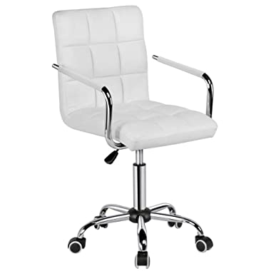 Yaheetech Modern PU Leather Midback Adjustable Executive Office Chair Furmax Home Computer Desk Chair on Wheels 360° Swivel-White