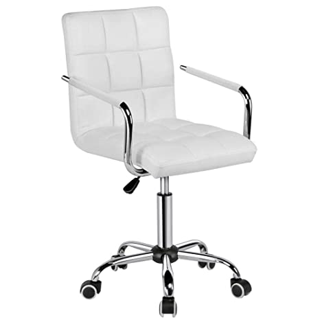 Yaheetech White Desk Chairs with Wheels/Armes Modern PU Leather Office  Chair Midback Adjustable Home Computer Executive Chair on Wheels 360° Swivel