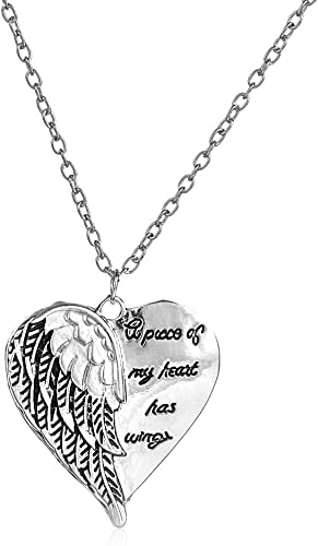 Angel Wing Necklace Heart Chain Pendant Jewelry a piece of my heart has wings UK