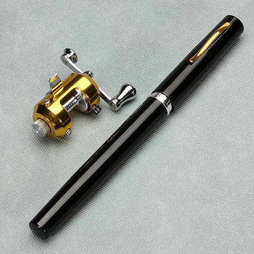 G Ganen 38inch Mini Portable Pocket Aluminum Alloy Fishing Rod Pen Great Gift