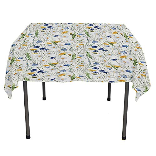 Floral Roses Decor outdoor tablecloth Poppies and Daisies Floral Printing Wild Flowers Watercolor Painting Yellow White Navy Blue Green washable outdoor table cloth Spring/Summer/Party/Picnic 36 By 36