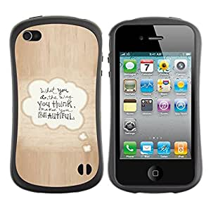 Suave TPU GEL Carcasa Funda Silicona Blando Estuche Caso de protección (para) Apple Iphone 4 / 4S / CECELL Phone case / / Beautiful Love Quote Bubble Text Brown /