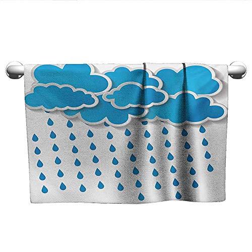 alisoso Rain,Best Bath Towels Trippy Convective Cloud Group Figures Like Savannah Forecast Drips Theme Autumn Rain Absorbent Towel Blue White W 28