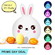 Baby Girl Night Light, Kawaii Rabbit Lamp, Soft Silicone Bunny Nursery Light, Multi Color Changing w' Touch Senor, USB Rechargeable, Warm Nighttime Buddy for Darling Little Toddler Kids