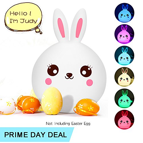 Baby Girl Night Light, Kawaii Rabbit Lamp, Soft Silicone Bunny Nursery Light, Multi Color Changing w' Touch Senor, USB Rechargeable, Warm Nighttime Buddy for Darling Little Toddler ()