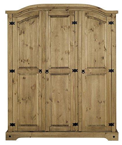 Corona 3 Door Arched Top Wardrobe in Solid Pine
