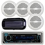 Kenwood KMR-D365BT In-Dash Marine Audio Bluetooth Receiver Bundle Combo With 2 Pairs Of