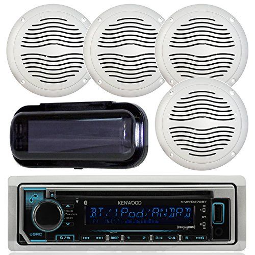 "Kenwood KMR-D368BT Marine In-Dash Radio Bluetooth Receiver Bundle Combo With 2 Pairs Of Magnadyne AquaVibe WR45W 5"" Marine Hot Tub Outdoor Waterproof Speaker, Waterproof Receiver Shield Cover"