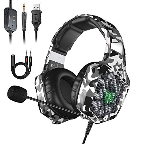 (Stereo Gaming Headset for PS4, Xbox One, Nintendo Switch, Noise Cancelling Over Ear Headphones with Microphone, PC Headset with Bass Surround, Compatible with PC, PS4/PS4 Pro, Mac(Camouflage White))