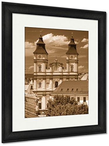 Ashley Framed Prints Old Cathedral In A City On Sunny Day, Wall Art Home Decoration, Sepia, 35x30 (frame size), Black Frame, AG5680291