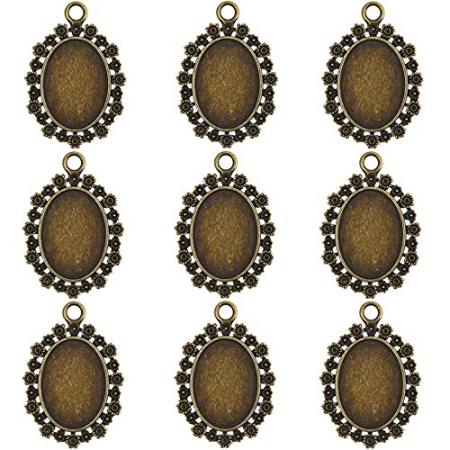 Lanbeide 10Pcs Antique Brass Oval Cameo Cabochon Base Setting Charms Pendant Necklace Findings for DIY Jewelry Making Findings