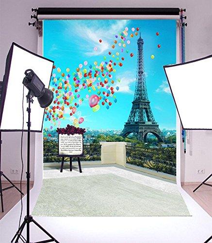 Laeacco 3x5ft Vinyl Photography Backdrop Romantic Paris Eiffel Tower Scenery 1*1.5m Background Studio - Camera Diy Digital Booth Photo