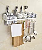 Aiweasi Space Saving Storage Racks Home Creative Multifunction Space Aluminum Kitchen Shelf Wall Mounting Tool Tool Cutting Board Frame Combination Seasoning (Color : Gold, Size : 60cm)