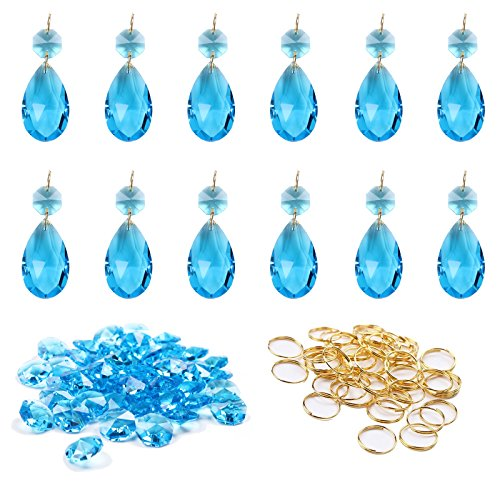 BIHRTC 12Pcs 38mm Galss Crystal Teardrop Chandelier Prisms Parts Hanging Galss Crystal Pendants Beads + 50pcs Metal Split Ring + 50pcs 14mm Octagonal Beads (Blue)
