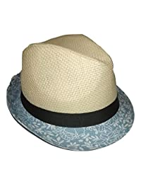 Daniel Cremieux Men's Straw Fedora Hat Natural with Grey Band Small/Medium