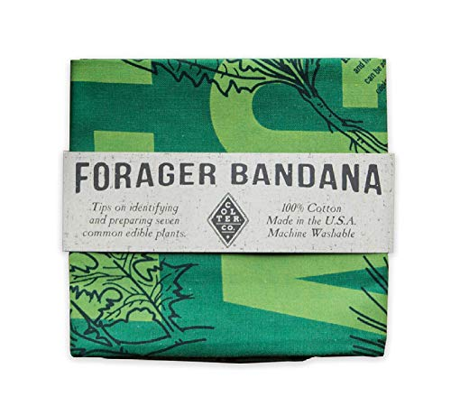 (Survival Bandana for Camping, Hiking, Fishing | 100% Cotton, Green, Illustrated Edible Wild Plants Guide Print, Made in The USA)
