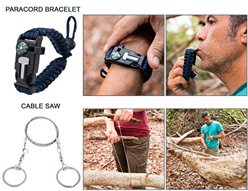 Emergency Survival Kit Bundle.11 Items. Pocket size. Essential Camping Survival Gear, Folding knife, Fire Starter, Compass, Paracord Survival Bracelet, Emergency Blanket, Whistle, Ebook, and more by Booyah Basix (Image #4)