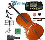 Merano MC200 1/8 Size Student Cello with Bag and Bow+2 Sets of Strings+Rosin+Cello Stand+Black Music Stand+Metro Tuner+Rubber Mute