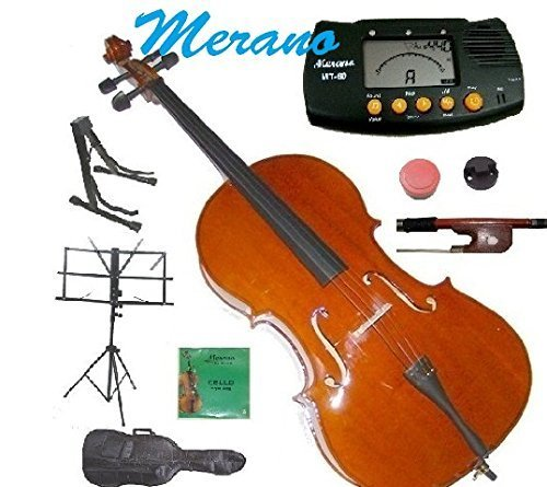 Merano MC200 1/8 Size Student Cello with Bag and Bow+2 Sets of Strings+Rosin+Cello Stand+Black Music Stand+Metro Tuner+Rubber Mute by Merano