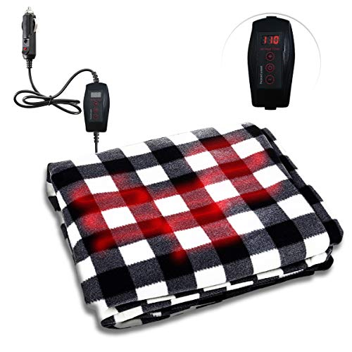 Zone Tech Car Heated Travel Blanket - Black and White Premium Quality 12V Automotive Comfortable Heating Car Seat Blanket Great for Winter