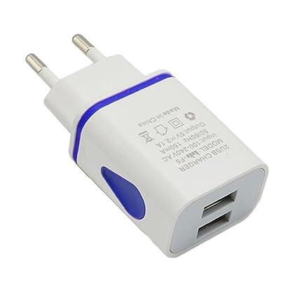 zolimx LED 2 Puerto pared Home Travel cargador AC adaptador USB, enchufe de la UE (azul)