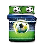 Helengili 3D Digital Printing Bedding Set Football Soccer Center Forward Bedding Bedclothes Duvet Cover Sets Bedlinen 100 Percent Microfiber Present ,Twin