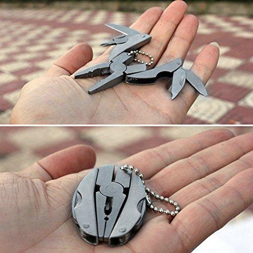 Pocket Multi Function Tools Set Mini Foldaway Keychain Pliers Knife Screwdriver - 6