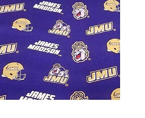 James Madison University Cotton FABRIC-100% Cotton -JMU Fabric Sold by The Yard-JMU Dukes College Cotton Fabric by SYKEL
