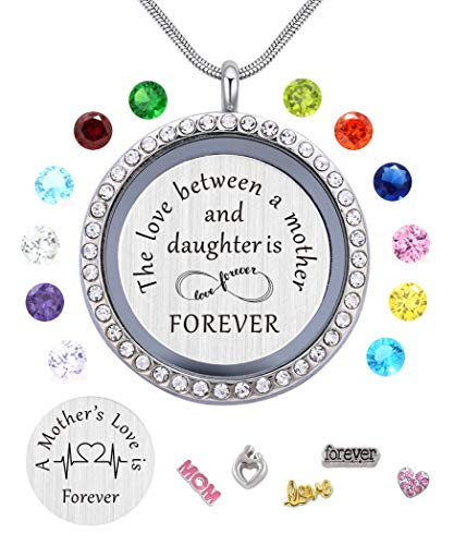 Beffy Daughter or Mom Love Gift, Memory Floating Locket Pendant Necklace with Birthstones & Charm for Morther Mom Mammy Mama or Girls