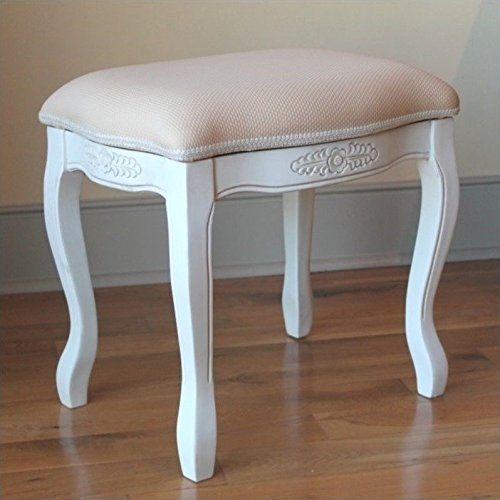 International Caravan 3963-AW-IC Furniture Piece Vanity Stool with Cushion Top by International Caravan
