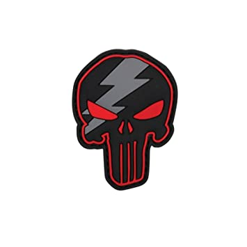 Emblem 3D Rubber Patch Punisher Thunder Skull Blitz Klett Abzeichen Totenkopf