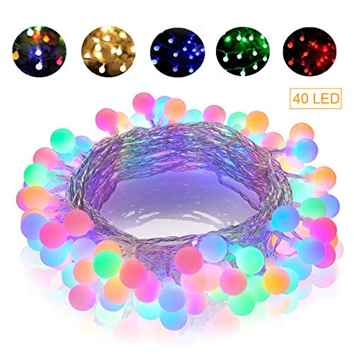 GREEMPIRE String Lights, 14.8 Ft 40 LED Colored Globe String Lights Waterproof Battery Powered Starry Fairy Light for Bedroom Patio Party Garden Wedding Room Decor, Dimmable, 8 Lighting Modes from GREEMPIRE