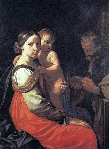 Simone Cantarini Holy Family - 24'' x 32'' 100% Hand Painted Oil Painting Reproduction by Art Oyster
