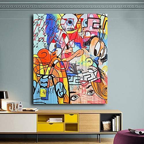 KWzEQ Dibujos Animados Pato ratón ilustración Moderna Pintura al óleo póster para niños Dormitorio decoración de la Pared,Pintura sin Marco,75x112cm: Amazon.es: Hogar
