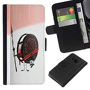 EJOY---La carpeta del tirón la caja de cuero de alta calidad de la PU Caso protector / HTC One M7 / --Cookies Guardián Guerrero Soldado Dulces de Azúcar