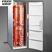 Mini Usb Led Pc Refrigerator Fridge Beverage Drink Cans Cooler Warmer Silver