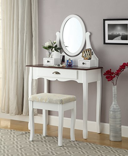 Roundhill Furniture Interhyp White and Cherry Wooden Vanity, Make Up Table and Stool Set (Antique Mirror Vanity White)