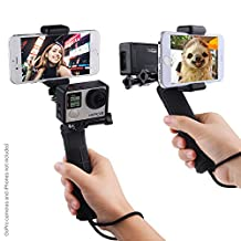 Stabilizing Hand Grip for GoPro Hero with Dual Mount, Tripod Adapter and Universal Phone Holder - Record Videos with 2 Different Camera Angles Simultaneously, Steady Shot Photography, Selfies (With Hand Grip, Gopro Hero 4 Session Black Silver Hero+ LCD 3+ 3 2 1)