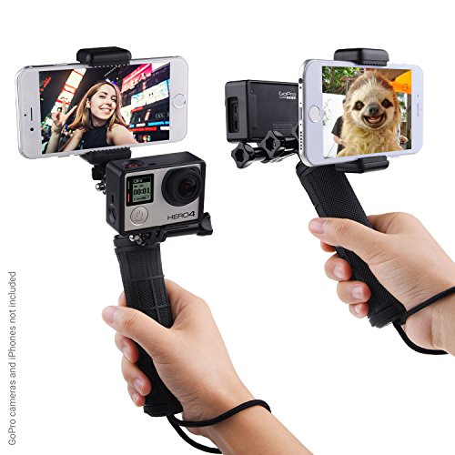 Stabilizing Hand Grip for GoPro Hero with Dual Mount, Tripod Adapter and Universal Phone Holder - Record Videos with 2 Different Camera Angles Simultaneously, Steady Shot Photography, Selfies by CamKix
