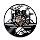 Guitar Drums Set Vinyl Record Wall Clock Wall Art Watch Clock – Drummer Gift Ideas Clock for Boyfriend Drumset Ornament Niece Gifts Teenager Art Decorations Drums Watch Artwork Drum Set Wall Decor For Sale