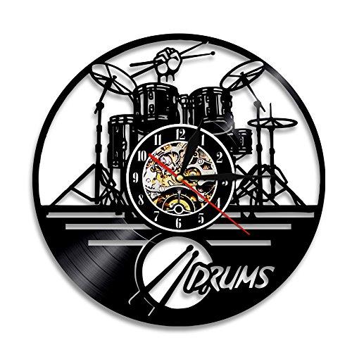 Guitar Drums Set Vinyl Record Wall Clock Wall Art Watch Clock - Drummer Gift Ideas Clock for Boyfriend Drumset Ornament Niece Gifts Teenager Art Decorations Drums Watch Artwork Drum Set Wall Decor