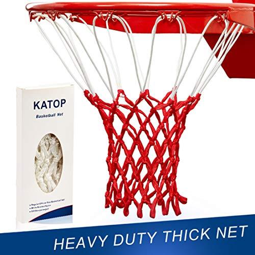 Katop - Red de repuesto para baloncesto (resistente a todo tipo de clima, 12 bucles (exterior e interior), Rojo y blanco