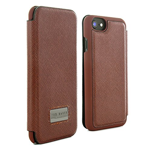 Official Ted Baker SS17 Folio Style Case with Credit Card Slot for iPhone 6S Protective Leather Style Executive iPhone 6S / iPhone 6 Case Made for CEO in High Quality Saffiano Finish - BOATSEE - Tan