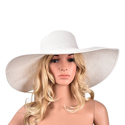 "6.7"" Womens Church Kentucky Derby Wide Brim Straw Summer Floppy Sun Hat A330 (All White)"