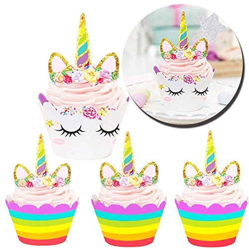 Unicorn Rainbow Cupcake Toppers Wrappers Birthday Party Supplies, Horn Cake Decoration Baby Shower Kids Double Sided Set Perfect Gold Banner Girl Happy Wedding Celebration Cute Gift Kit By - Birthday Cupcake