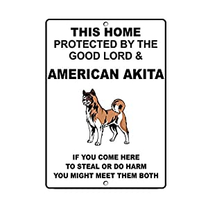 "American Akita Dog Home Protected by Good Lord and Novelty SignVinyl Sticker Decal 8"" 38"