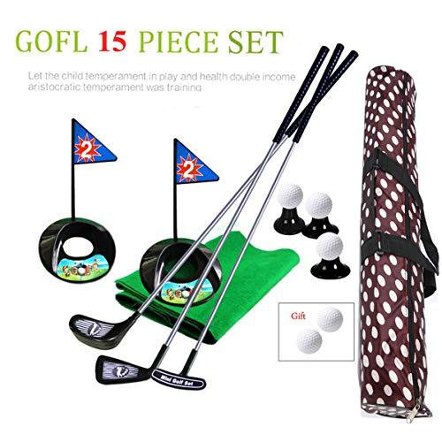 sowofa Golf Pro Set Juguete para ninos Ninos pequenos Palos de Golf de Metal Bolas de practica Deportes Juego Interior Golf 24 Pulgadas Entrenamiento 17 PCS con Mochila Impermeable